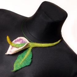 filc,kalia,kwiaty,choker,obroża,filcowy,naszyjnik - Naszyjniki - Biżuteria