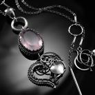 Naszyjniki srebrny,naszyjnik,wire-wrapping,kwarc,różowy,serce