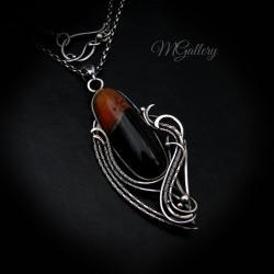 Srebrny wisior z agatem,wire wrapping. - Wisiory - Biżuteria