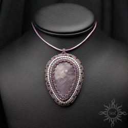 fioletowy,biały,lepidolit,elegancki,misterny,łezka - Wisiory - Biżuteria
