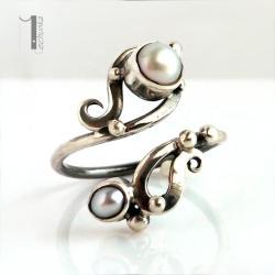 srebrny pierścionek,perły,wire wrapping,925 - Pierścionki - Biżuteria