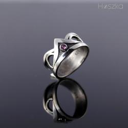obrączka,korona,pierścionek,ametyst - Pierścionki - Biżuteria