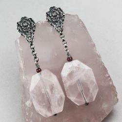 kostki lodu,kwarc różowy,lato,róże,dzika róża - Kolczyki - Biżuteria