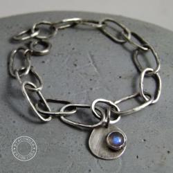 srebro,łańcuch,kuta,surowa,oksydowana,labradoryt - Bransoletki - Biżuteria