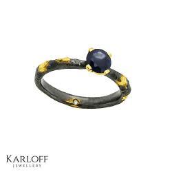 srebro,złoto,diament,brylant,szafir - Pierścionki - Biżuteria