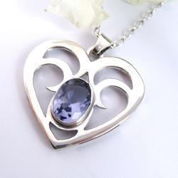 naszyjnik srebrny,serce,z cyrkonią - Naszyjniki - Biżuteria