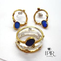 Ażurowe Kolczyki Srebrne i Obrączka - Komplety - Biżuteria