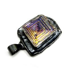 bizmut,blask,tęcza,purpurowy,srebrny,złoty,surowy - Wisiory - Biżuteria