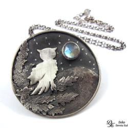 2513b058703d83 sowa,naszyjnik,kamień księżycowy,unikat,srebro - Naszyjniki - Biżuteria