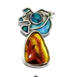 Wisior Srebrny Bursztyn i Opal - Wisiory - Biżuteria