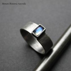 srebro,księżycowy,surowy,subtelny,oksydowany - Pierścionki - Biżuteria