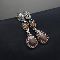 srebrne,kolczyki,długie,z szafirami - Kolczyki - Biżuteria