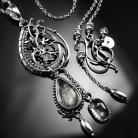 Naszyjniki srebrny,naszyjnik,wire-wrapping,kwarc,turmalinowy