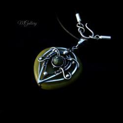 Srebrny wisior z jadeitem,wire-wrapping - Wisiory - Biżuteria