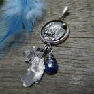 Wisiory srebrny,etniczny,pióro,boho,kyanit,koń