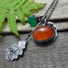 Naszyjniki srebrne,oksydowane,jesień,srebrny liść