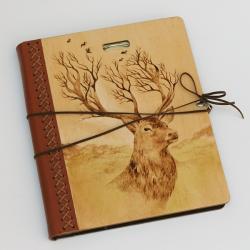 jeleń,pirografia,las,wypalanie - Notesy - Akcesoria