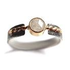 Pierścionki srebrno-złoty pierścionek z białym diamentem