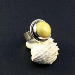 srebrny pierścionek z bursztynem - Pierścionki - Biżuteria