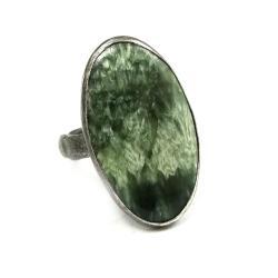 serafinit,blask,srebrny,szarości,las,srebro,okaz - Pierścionki - Biżuteria