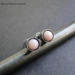 srebro,opal,różowe,surowe,sztyfty - Kolczyki - Biżuteria