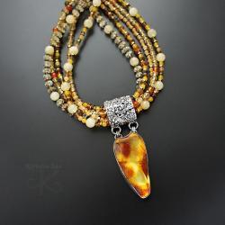 naszyjnik,okazały,z bursztynem,z turmalinem - Naszyjniki - Biżuteria