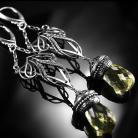 Kolczyki srebrne,kolczyki,wire-wrapping,kwarc lemon,ciba