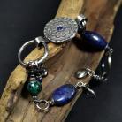 Bransoletki srebrna mandala,bransoletka z lapis lazuli