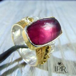 Pierścionek Srebrny z Turmalinem - Rubelitem - Pierścionki - Biżuteria
