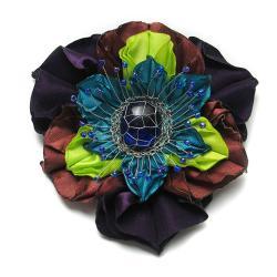 broszka,kwiat,egzotyczna,satyna,elegancka - Broszki - Biżuteria