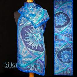 niebieski szal jedwabny ręcznie malowany - Inne - Dodatki