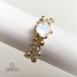 pierścionek zaręczynowy,kamień księżycowy - Pierścionki - Biżuteria