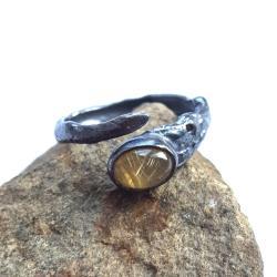 kwarc,rutyl,złociste,blask,srebrny,minerały,retro - Pierścionki - Biżuteria