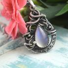 Wisiory wisior,wire-wrapping,misterny,kamień księżycowy