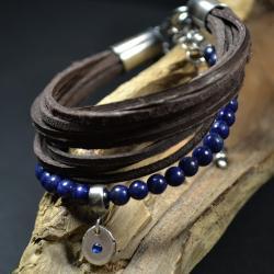 bransoleta z lapis lazuli,bransoleta z rzemieni - Bransoletki - Biżuteria