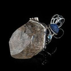azuryt,topaz,kwarc rutylowy,srebro naturalny, - Wisiory - Biżuteria