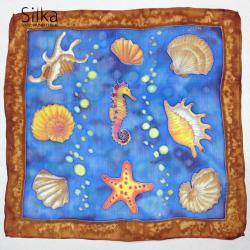 z morskimi motywami muszlami niebieska jedwabna - Inne - Dodatki