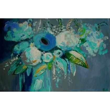 Kwiatyabstrakcjazieleńszarościniebieski Obrazy Wyposażenie