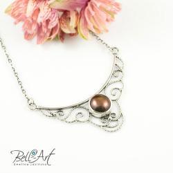 retro,perła,ażurowy,elegancki, - Naszyjniki - Biżuteria