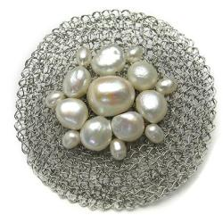 broszka,koronkowa,elegancka,perły - Broszki - Biżuteria