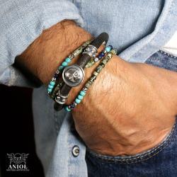 komplet bransolet,biżuteria skórzana,turkus - Dla mężczyzn - Biżuteria