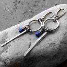Kolczyki lapis lazuli,granatowe,długie,okazałe,srebro