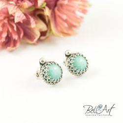 romantyczne,retro,koronka,błękitne - Kolczyki - Biżuteria