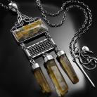 Naszyjniki srebrny,naszyjnik,wire-wrapping,jaspis,cytryn,ciba