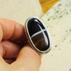 srebro,klasyka,minimalizm,pierścionek,onyks - Pierścionki - Biżuteria