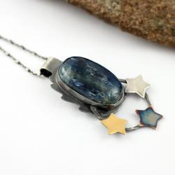wisior z kyanitem,gwiazda,srebrne gwiazdki - Wisiory - Biżuteria