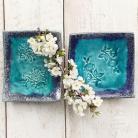 Ceramika i szkło talerzyki,róża,liście,ceramika,turkusowe