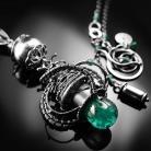 Naszyjniki srebrny,naszyjnik,wire-wraping,szmaragd,zielony