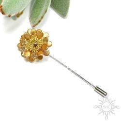 broszka,szpila,kwiat,złota,swarovski,wiosna,żółta - Broszki - Biżuteria