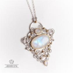 ślubny naszyjnik,kamień księżycowy - Naszyjniki - Biżuteria
